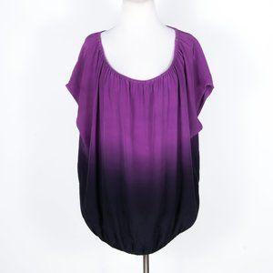 Joie Purple Silk On/Off-Shoulder Blouse